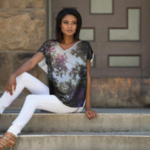 Flowing dolman style top with light forest print.© Teresa Neal Photographer