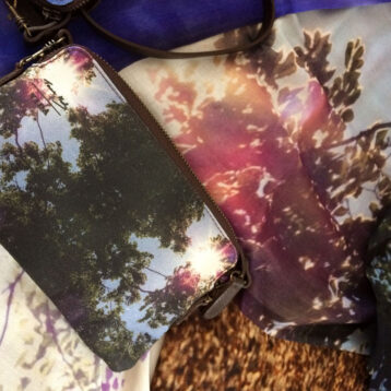 Light-fantastic-scarf-with-Purple-Sun-Cloud-Clutch ©Teresa Neal