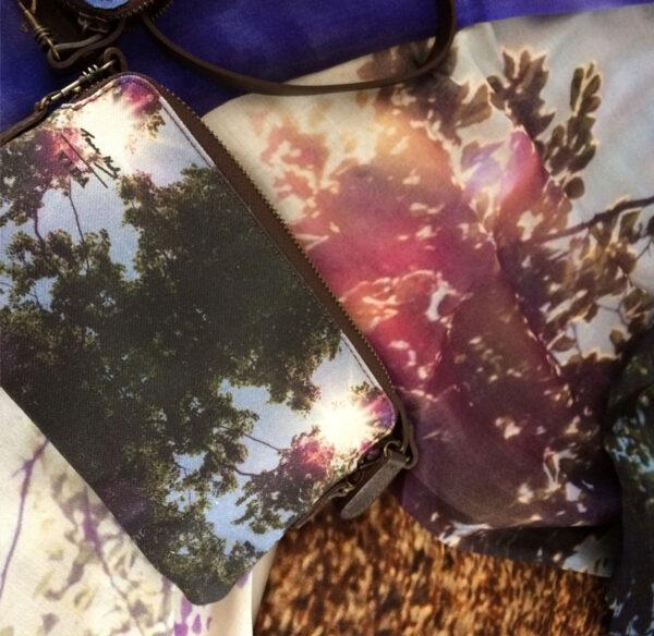 Light-fantastic-scarf-with-Purple-Sun-Cloud-Clutch ©Teresa Neal