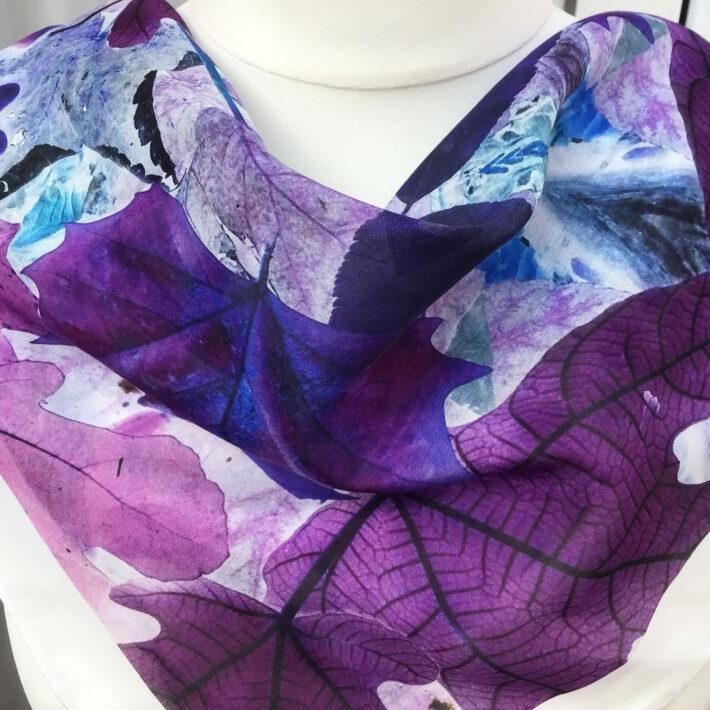 Small square silk cotton scarf