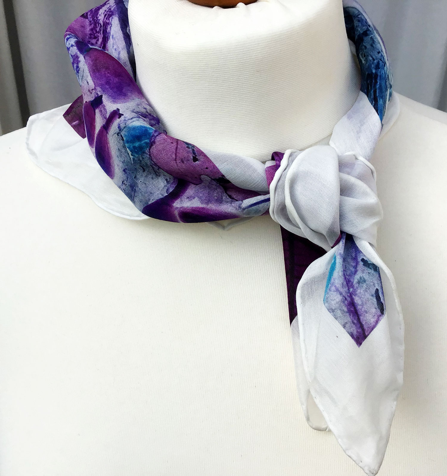 Lilac Leaves small silk cotton scarf | Teresa Neal